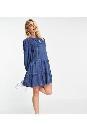 Wednesday's Girl Mini smock dress with tiered skirt in denim