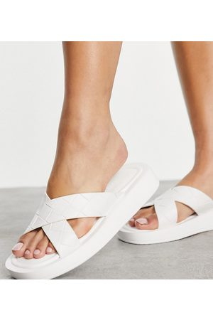 Raid Wide Fit Andina plaited chunky slide sandals in white
