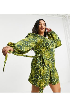 Never Fully Dressed Exclusive wrap tie mini dress in green geo tile print