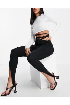 Fashionkilla Stirrup leggings with waist detail in black