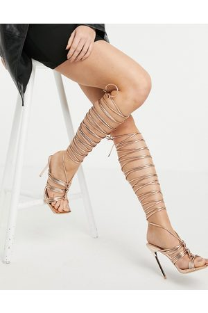 SIMMI Shoes Mujer Sandalias - Simmi London Chanelle thigh high sandals in rose gold