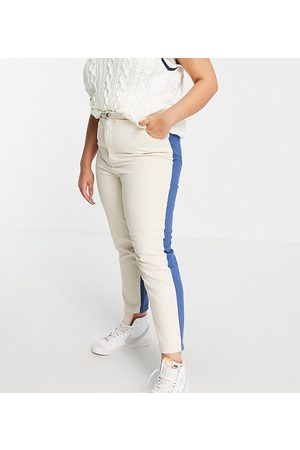 Daisy Street Mom jeans in colour block denim co