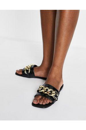 SIMMI Shoes Simmi London Tashina chain trim mules in black croc