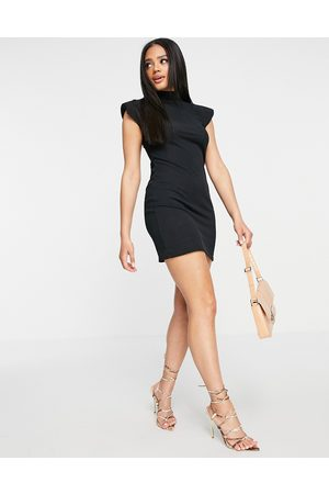 I saw it first Ribbed high neck bodycon dress with shoulder pads in black