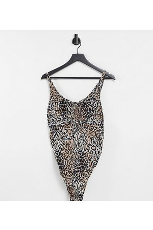 Wolf & Whistle Maternity Exclusive swimsuit with tie detail in leopard print