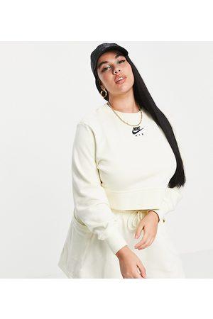 Nike Air Plus cropped fleece sweatshirt in off white