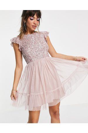 Maya Mujer Cóctel - Embellished top mini dress in frosted pink