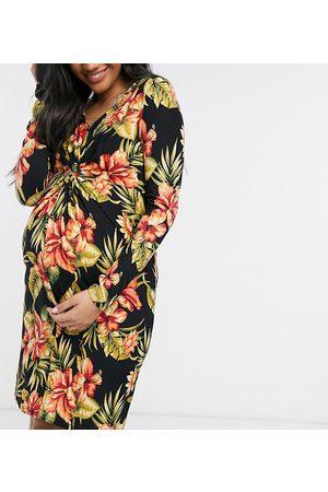 Mama Licious Mujer Cortos - Mamalicious Maternity knot detail mini dress in floral print
