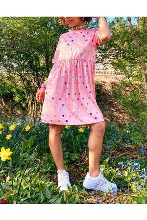 Urban Threads Smock dress in pink with metallic polka dot
