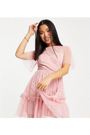 ANAYA Mujer Cortos - Anaya with Love Petite mini dress with flounce skirt in pink embossed tulle