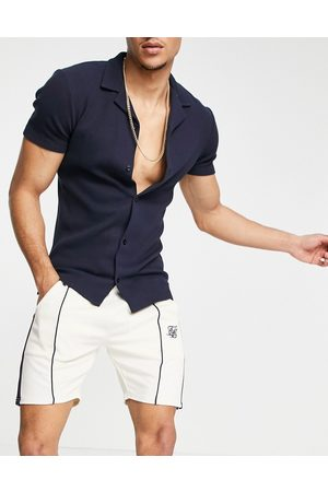 SikSilk Retro tape relaxed shorts in white