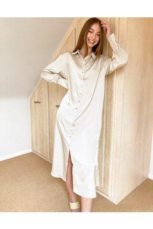 Pretty Lavish Naomi satin shirt midi dress in cream