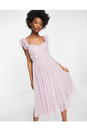 ANAYA With Love flutter sleeve midi dress in lilac tulle