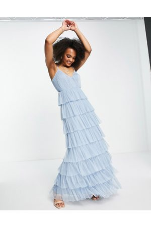 Anaya With Love maxi dress with tiered skirt in pale blue tulle