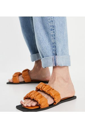 Simmi Wide Fit Simmi London Wide Fit Parrish ruched flat sandals in camel