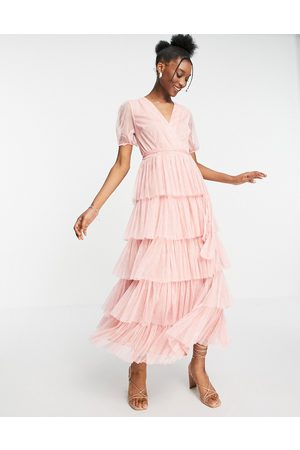 Anaya Mujer Vestidos - With Love puff sleeve midaxi dress with tiered skirt in pink