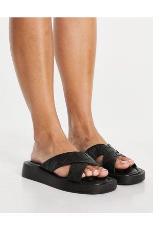 Raid Andina plaited chunky slide sandals in black