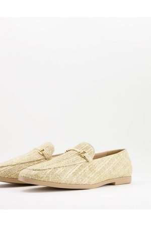 ASOS Natural sole loafers in stone raffia