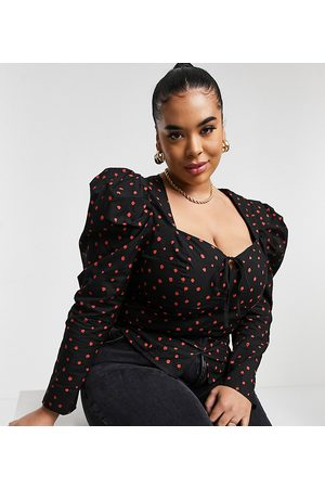 Glamorous Curve Mujer Blusas - Milkmaid blouse in copper spot with puff sleeves