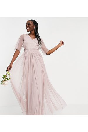 ANAYA Mujer Vestidos de noche - Anaya With Love Tall Bridesmaid tulle flutter sleeve maxi dress in pink