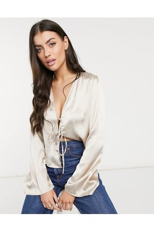 ASOS DESIGN Long sleeve bed jacket with tie detail in shell pink