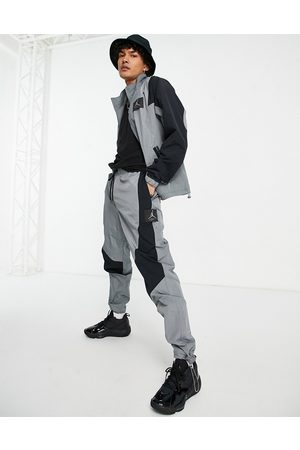 Jordan Nike Flight woven cuffed joggers in grey/black