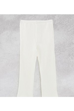 COLLUSION Suéteres - Unisex chunky jersey knit wide leg joggers in ecru co