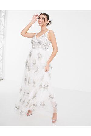 Maya Embellished column maxi dress in white