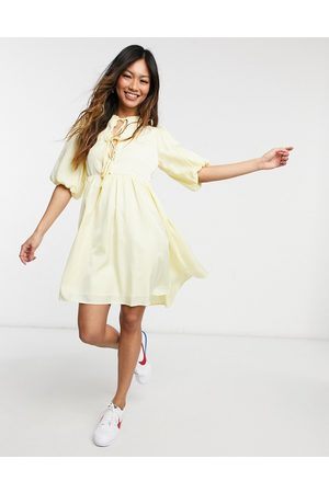 Y.A.S Mujer Casuales - . tie front mini smock dress in yellow