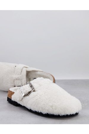 ASRA Hombre Tenis - Fred furry slip on mules in cream