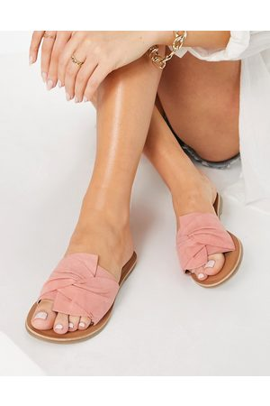 Accessorize Mujer Sandalias - Mule sandals with twist strap in pink suede