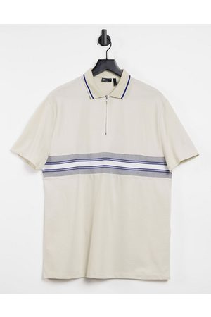ASOS Relaxed organic polo shirt with zip neck and taping