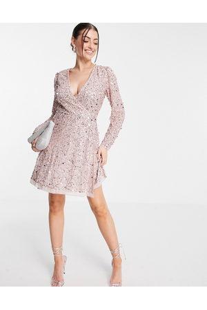 Maya Embellished mini wrap mini dress in frosted pink