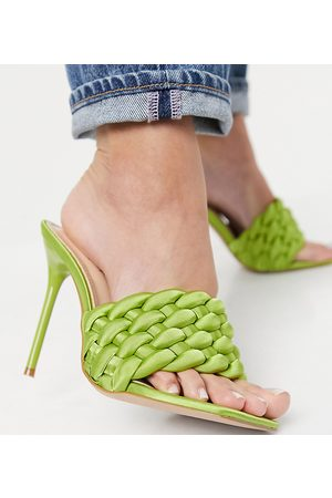 Simmi Wide Fit Simmi London Wide Fit Brandy woven mules in olive green