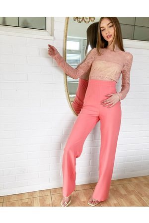 Vesper Mujer Largos - Two in one lace detail jumpsuit in coral
