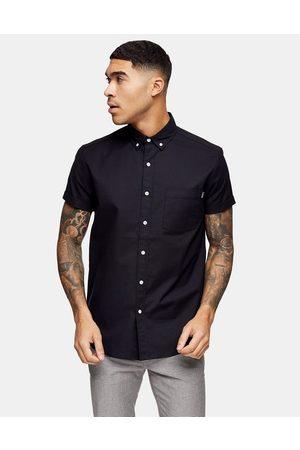 Topman Hombre Manga corta - Regular oxford shirt in black