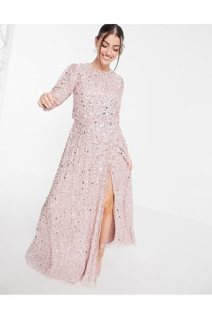 Maya All over embellished maxi dress with split in frosted pink