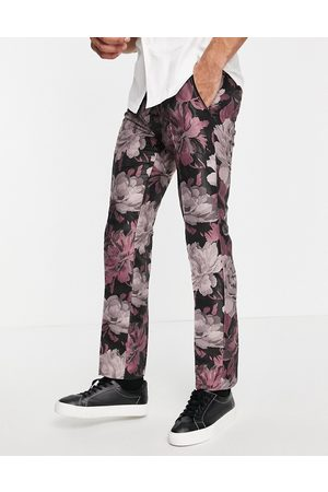 Twisted Tailor Suit trousers in black and pink floral jacquard