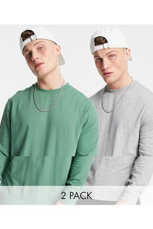 ASOS Lightweight sweatshirt in green/grey marl 2 pack