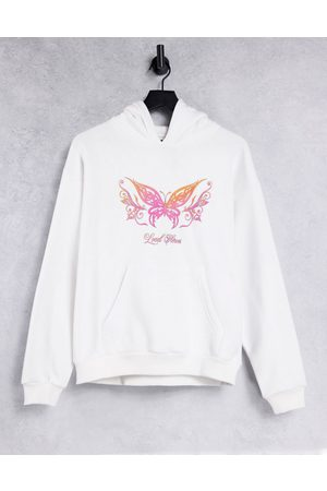 LOCAL HEROES Oversized hoodie with retro butterfly graphic