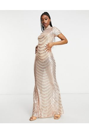 Club L London Rose gold striped sequin high neck fishtail maxi dress in rose gold