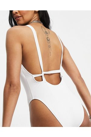 ASOS Fuller bust recycled supportive twist strappy low back swimsuit in white