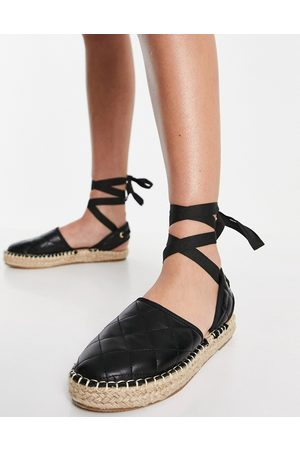 Truffle Collection Mujer Alpargatas - Tie leg espadrille shoes in black