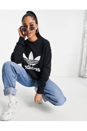adidas Mujer Con capucha - Large logo sweatshirt in black