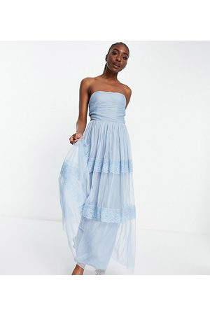 ANAYA Mujer Strapless y off shoulder - Anaya with Love Tall strapless midaxi dress with tiered skirt in pale blue embossed tulle
