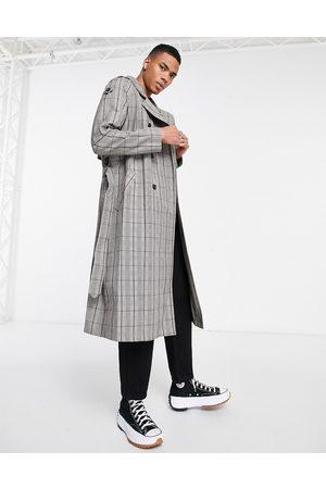 ASOS DESIGN Hombre Gabardinas - Double breasted trench coat in grey check