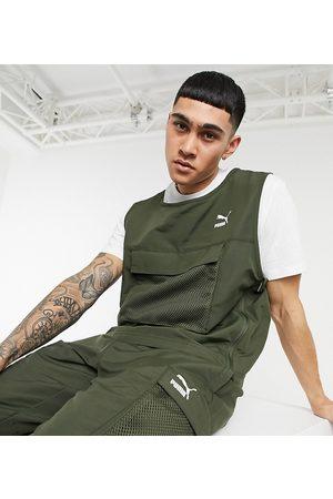 PUMA Avenir chest pocket vest in khaki exclusive to ASOS