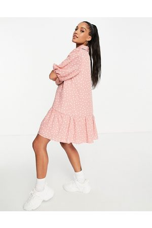 In The Style Dropped waist shirt dress in polka