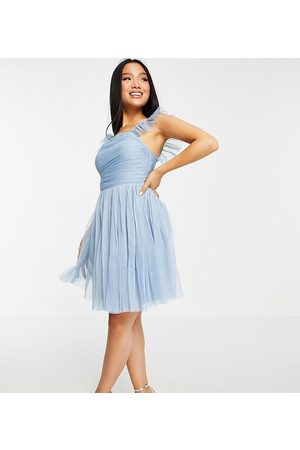 ANAYA Mujer Cóctel - Anaya with Love Petite frill sleeve ruched mini prom dress in pale blue
