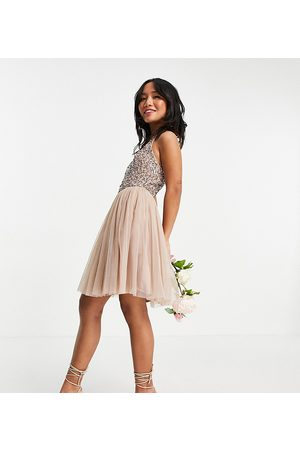Maya Bridesmaid halterneck mini tulle dress with tonal delicate sequin in taupe blush